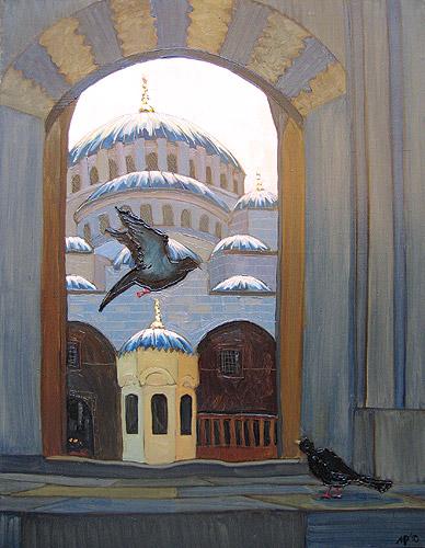Голуби у мечети Эминёню. х.м., 70х90 см., 2010 г.