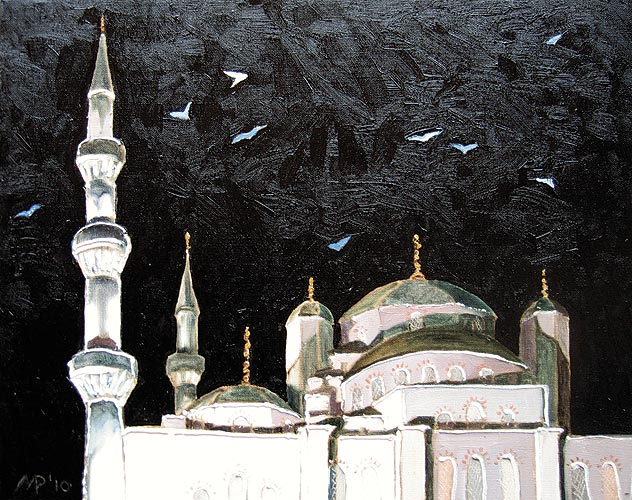 Чайки над Голубой мечетью. х.м., 50х40 см., 2010 г.
