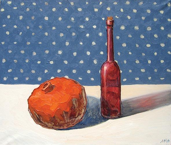 Натюрморт с красной бутылкой. х.м., 70х60 см., 2010 г.