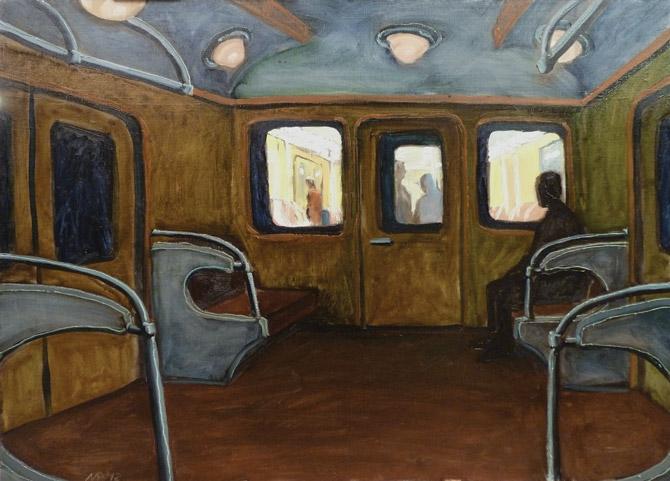 Темный вагон. х.м., 70х90 см.,  2012 г.