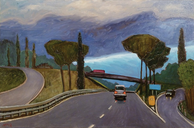 Twilight on the route  to Livorno. oil on canvas, 90x60 cm., 2012.