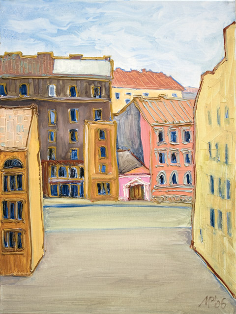 St. Petersburg .   Turgenev square.  Oil on canvas, 80х60 cm., 1998.